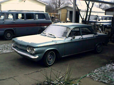 """December 2003 at the """"old house"""". Note the 3 Corvairs. I've added one more since then."""