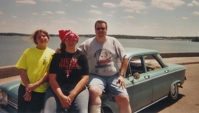 Thats Maggie, Sarah, and me at Kentucky Lake, all sitting on my 1964 Corvair 700 sedan. That's my daily driver. This was early summer 2005, and I still had a cast on.
