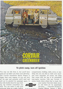 This is the ad for the 1963 Greenbriers. My oldest daughter has always liked this one, since the lady has more fish (and bigger fish, too), and the guy looks a little miffed.