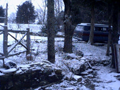 A dusting of snow on my van, sitting here at the log cabin in White Mills, KY.