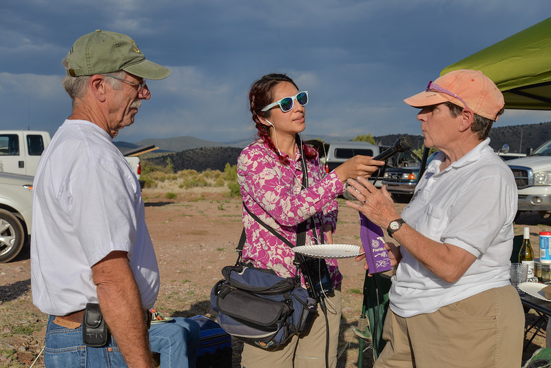 Deb Krikorian and Bob Robinson, two of several people who worked to make the Cosmic Campground vision become reality, being interviewed by Monica Ortiz Uribe.