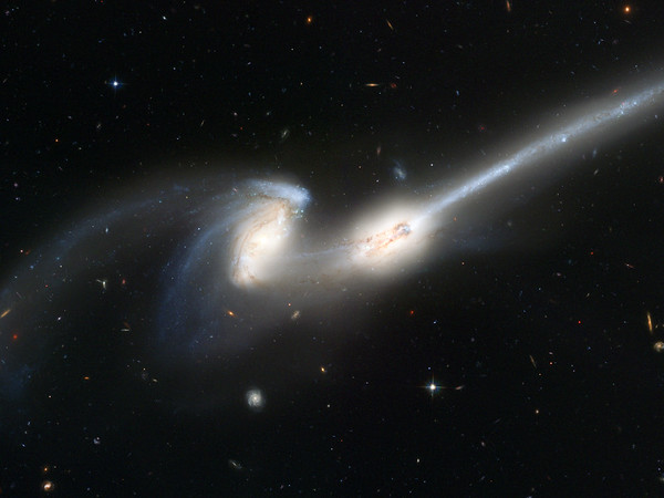Galaxy No.  Hubble's newest camera takes a deep look at two merging galaxies