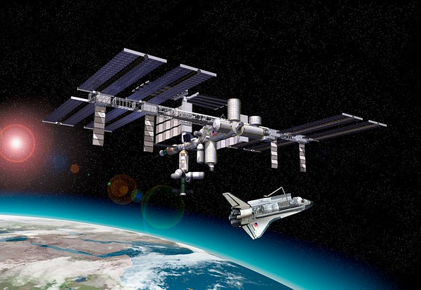 International space station and shuttle