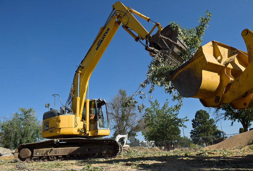 . LONGMONT, CO - AUG. 29, 2018: Trees are removed from the former Royal Mobile Home Park property Aug. 29. Contractor L&M Enterprises is working on the Resilient St. Vrain Creek project by removing underbrush. Other work includes changing the flow of the waterway and the river\'s structure to make it less prone to flooding. (Photo by Lewis Geyer/Staff Photographer)