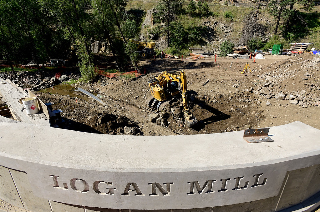 . BOULDER COUNTY, CO - AUGUST 9: Construction continues around Logan Mill Road and Fourmile Canyon Drive in Boulder County on Aug. 9, 2018. The intersection and surrounding area sustained significant damage in the 2013 flood. (Photo by Matthew Jonas/Staff Photographer)