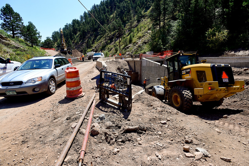 . BOULDER COUNTY, CO - AUGUST 9: Construction continues on infrastructure near Wagon Wheel Gap Road in Boulder County on Aug. 9, 2018. Parts of the road and bridges along the creek were destroyed in the 2013 flood. (Photo by Matthew Jonas/Staff Photographer)