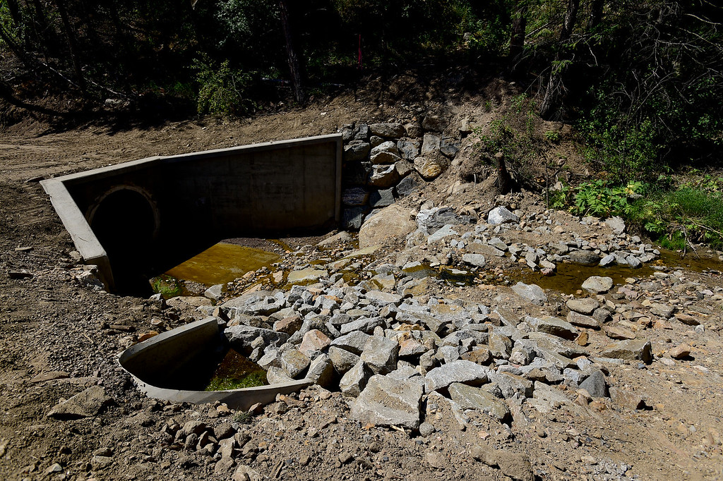 . BOULDER COUNTY, CO - AUGUST 9: A recently completed culvert and stream restoration project is seen along Gold Run Road in Boulder County on Aug. 9, 2018. The area sustained significant damage in the 2013 flood. (Photo by Matthew Jonas/Staff Photographer)