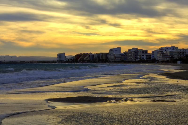 Twilight on the beach at Roses, Costa Brava, Spain (Oct 2013)