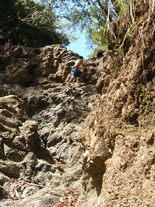 climbing up the rocks
