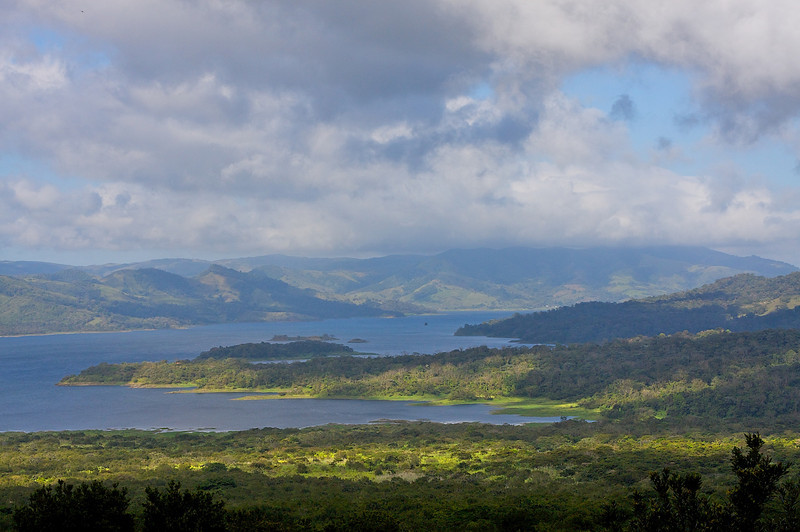 Jumped the fence at first light to get here. I'm on the western slope of Volcan Arenal National Park. That lake is Laguna De Arenal.