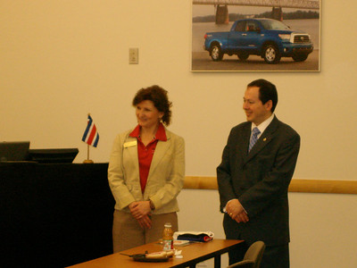 Rhonda Glasscock, Corporate Contributions Manager, Toyota Motor Sales, USA, Inc.  and Judge Sergio Alonso Valverde Alpizar, Costa Rica Consul General