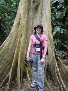 Regina in front of a kapoc tree, La Selva