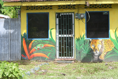 Beautiful murals on a local store front in Puerto Jiménez.