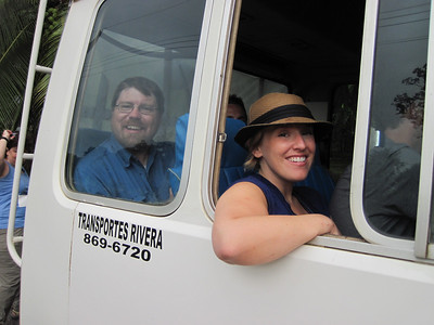 Laron J. and Carolyn W. aboard the Toyota Tour bus at the La Gamba Community.  Photo by A.M. Burgamy