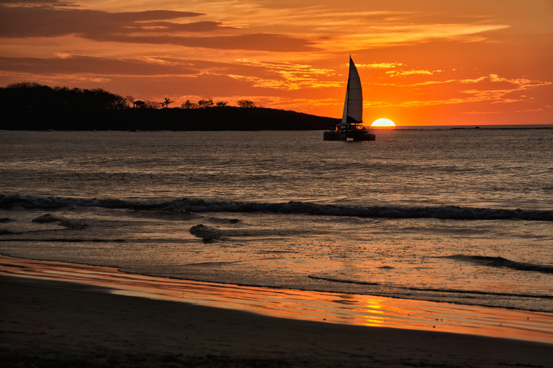 Sunset on the beach in Tamarindo, Costa Rica