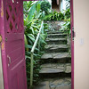 I think I counted 38 steps down/up (2 flights) to my raspberry colored front door! (this is a GOOD thing for my bod!!).  The top part of the door can open to give air!!!
