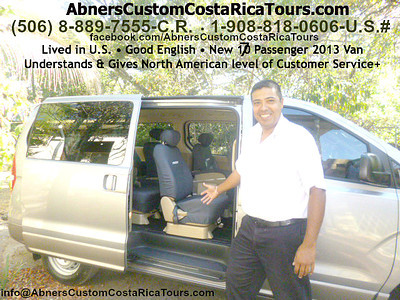 Abner Arias with Abner's Custom Costa Rica Tours  http://AbnersCustomCostaRicaTours.com  info@AbnersCustomCostaRicaTours.com  (506) 8-889-7555-CR  •  1-908-818-0606-U.S.  •  Skype: Abner506  for ALL your Costa Rica travel needs - everything from Airport Greets • Airport Transfers throughout Costa Rica • Executive Driver•Chauffer • Visa Runs•Trips to Nicaragua or Panama • Custom Travel Planning • Reserving Tours & Hotels throughout Costa Rica  • Tour Guide++!!!  Abner speaks Good English, has Lived in the U.S. so he UNDERSTANDS & GIVES North American level of Customer Service & he's VERY HONEST & Trustworthy!!!!  Payment: Cash (U.S. $ or Colon) or Credit Card (Visa or MasterCard) .
