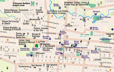 BUS STATION MAP of San Jose, Costa Rica.  This is a partially good map in that there are some arrows indicating which direction some of the streets go.  NOTE that some of the buses have changed locations - like Tica Bus & the Caribbean bus to Puerto Viejo.  http://costa-rica-guide.com/travel/index.php?Itemid=686&id=454&limit=1&limitstart=1&option=com_content&task=view