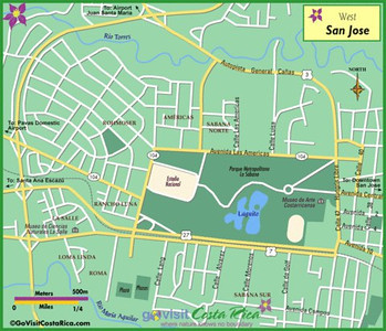 Sabana Park•Parque - Sabana Oeste•West - Rohrmoser•Pavas • Sabana Sur•South • Sabana Norte•North • Sabana Este•East