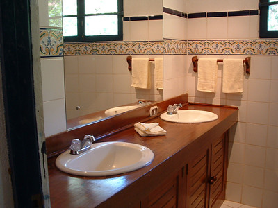 A double sink & a large open shower