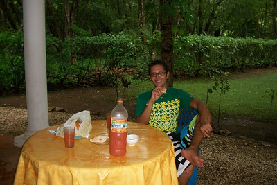 """Pablo & I sharing a """"Welcome Cocktail"""" (well - just the Fruitos Mixtos Tropical fruit drink [no alcohol]) on the patio!"""