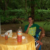 "Pablo & I sharing a ""Welcome Cocktail"" (well - just the Fruitos Mixtos Tropical fruit drink [no alcohol]) on the patio!"