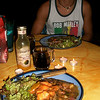 My first night I made dinner for Pablo (the employee at the hotel - a REAL sweetie [don't worry Todd & Wally - I'm not going to corrupt him!!  I wouldn't do that to you!!!]) - pork chops/cerdo with a LINGUASMO/TongueGasmic Mango/Ginger (Jengibre) & Habennero Sauce/Dressing by SaborFusion (made in Costa Rica) with red onions, LOTS of cilantro & chunks of papaya!!  SOOOO TASTY if I may say so myself!!!