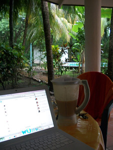 Sept. 29, '11  -  Having my morning Smoothie (papaya, pineapple/pina & banana) & checking Facebook on the patio on a rainy morning in Paradise!!    The body is in some pain because the last few days I've been doing 30-60 minutes of Water Aerobics in the pool!  Muscles are getting pushed that haven't been used in AWHILE!!!!  To bed by 11pm (after a tasty concoction of chicken in a sauce of extra virgin olive oil, lemon, basil, pepper & LOTS of garlic!!  & 1/2 a glass of wine!!  [cheap date - what can I say - 1/2 a glass of wine & I'm out like a log!!!]) & up at 5am!!! (no time to sleep!!  I'll sleep in my next life!!! TOO MANY things to do in this one!!)