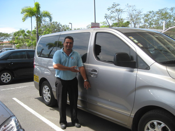 """Cathy hired WONDERFUL (& legal Tourism Van driver who speaks English & GETS North American level of Customer Service) <br /> """"AO"""" (Abe Orozco)  -  8-654-3543  •  AbeOrozco@hotmail.com<br /> <br /> BASE:  Alajuela<br /> ."""