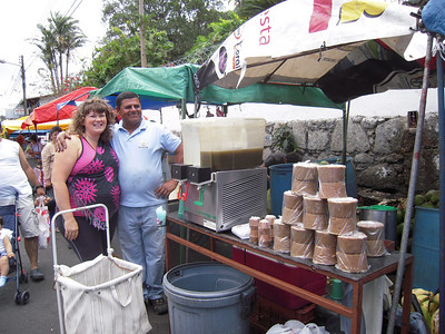 AGUA DE PIPA (the green/young coconuts you see people drinking out of is BEYOND AWESOME for High Blood Pressure, kidney's, dehydration & LOTS of other health issues!!!  It's AMAZING & has helped lower MY blood pressure a LOT!! Minor (we were born just hours apart on 6/9 - June 9!!) cuts the coconuts right in front of you & can pour them into a 1-2 liter bottle (2 liters is about 1,500-c!!  WAYYYY Cheaper than at the regular grocery store & NO additives like they often have!!) & he's a REAL SWEETIE!!!  My special bud!!!  Send my love when you see him!!  You only can find him on Saturdays from like 6am to 1pm at the Escazu Centro Feria/Farmer's Market on the street behind the Park/church!!!