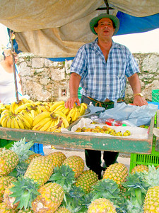 "This is my FAV guy I go to for Bananas!!  Usually he's just 500-colones for a ""Hand•Mono"" of Bananas!!  That's not even $1!!!"