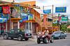 Street scene and shops in the village of La Fortuna, Costa Rica, Central America.
