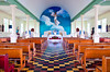 The interior of the Catholic church at La Fortuna, Costa Rica, Central America.