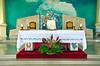 The altar inside the Catholic church at La Fortuna, Costa Rica, Central America.