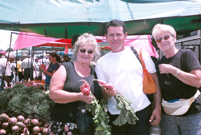 """One of the BEST tours is going to a local """"Feria"""" - Farmer's Market!!  It's part of the REAL EXPERIENCE of seeing Costa Rica - learning about the different foods, rubbing elbows with the locals, tasting the local fare!!!  If you're a foodies we can bring in one of the local ladies to not only explain about the different foods but also teach you how to prepare them on our LOCALS FOOD TOUR!!!  We can CREATE whatever CUSTOM TOUR you'd like!!!!  (this was with Chris, driver Frank Chicas & Marge of Sarasota, Florida at the Guadalupe Feria - one of the largest farmers markets in Costa Rica)"""