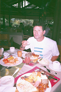 Driver Frank Chicas filling up on a typical Breakfast - a Buffet (not so typical)