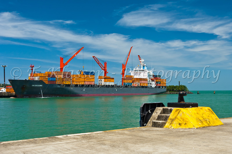 Ships docked at the harbor in Puerto Limon, Costa Rica, Central America.