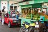 Kiosks at a street market in Puerto Limon, Costa Rica, Central America.
