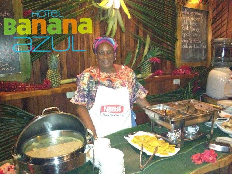 CARIBBEAN BUFFET!!!! in Playa Negra (near Puerto Vieja) Fridays - 6:30-8:30pm -  Miss Helena's Caribbean buffet at Hotel Banana Azul  -  $13.95 + taxes.  They also have a FAJITA BUFFET with ALL the toppings including fish, beef and chicken on Sundays [same time /price).  What a GREAT excuse (not that you need it) to go down & stay at this cool beachfront property REAL close to FUNNNN Puerto Vieja!!!:<br> http://facebook.com/BananaAzul<br> http://BananaAzul.com (make sure to tell owner Colin that Vicki Connected you!!)