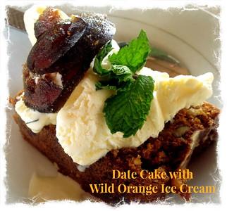 Date Cake with Wild Orange Ice Cream