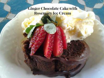Ginger Chocolate Cake with Rosemary Ice Cream