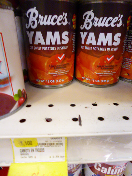 HOLIDAY FOOD  - Canned YAMS can be found YEAR-ROUND at AutoMercado.  So far I have NOT seen Fresh yams as we know them in the U.S.