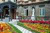 The exterior flower gardens of the National Theater building in San Jose, Costa Rica, Central America.