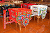Colorful oxcarts in the craft shops in the village of Sarchii, Costa Rica, Central America.