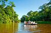 Touring Tortuguero National Park by boat in Costa Rica, Central America.