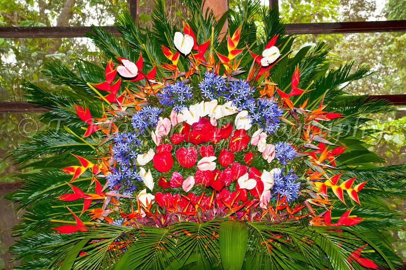 Tropical flower arrangement in the dining room of the Pachira Lodge, Toruguero National Park, Costa Rica, Central America.