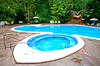 The pool area at the Pachira Lodge, Tortuguero National Park, Costa Rica, Central America.