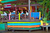 The canal-side bar at the Pachira Lodge in Tortuguero National Park, Costa Rica, Central America.