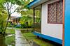 The modest pastel colored homes in Tortuguero, Costa Rica, Central America.