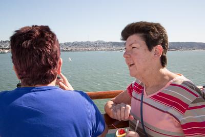 Hollis and Mary Pat watching San Francisco go by at sail away.